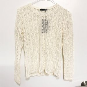 ZARA Cream Lace Long Sleeve Top